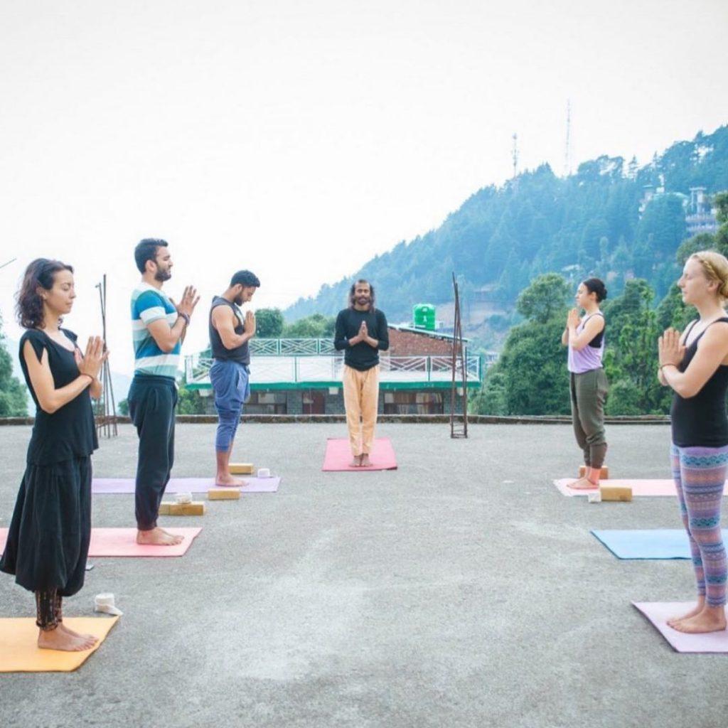 surya namaskar dharamshala india shree hari yoga
