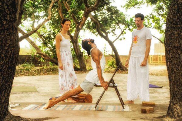 chair yoga, iyengar yoga in shree hari yoga school