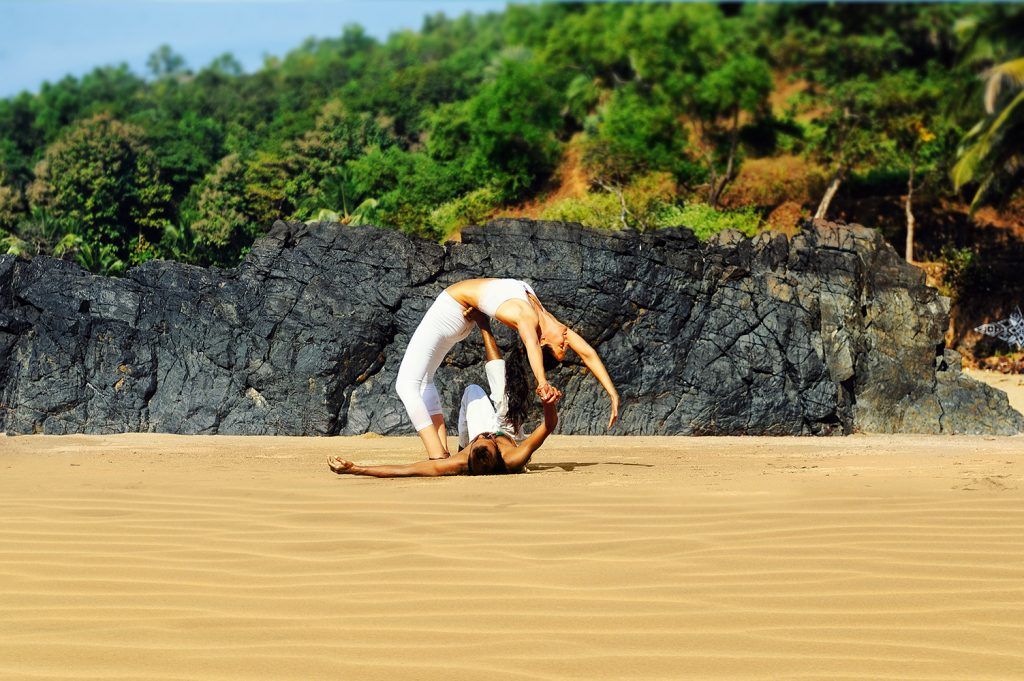 shree hari acro yoga in india at the beach
