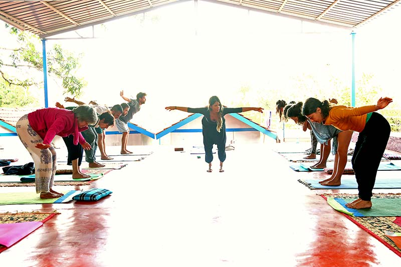 female yoga teacher teaching vinyasa flow at shree hari yoga school