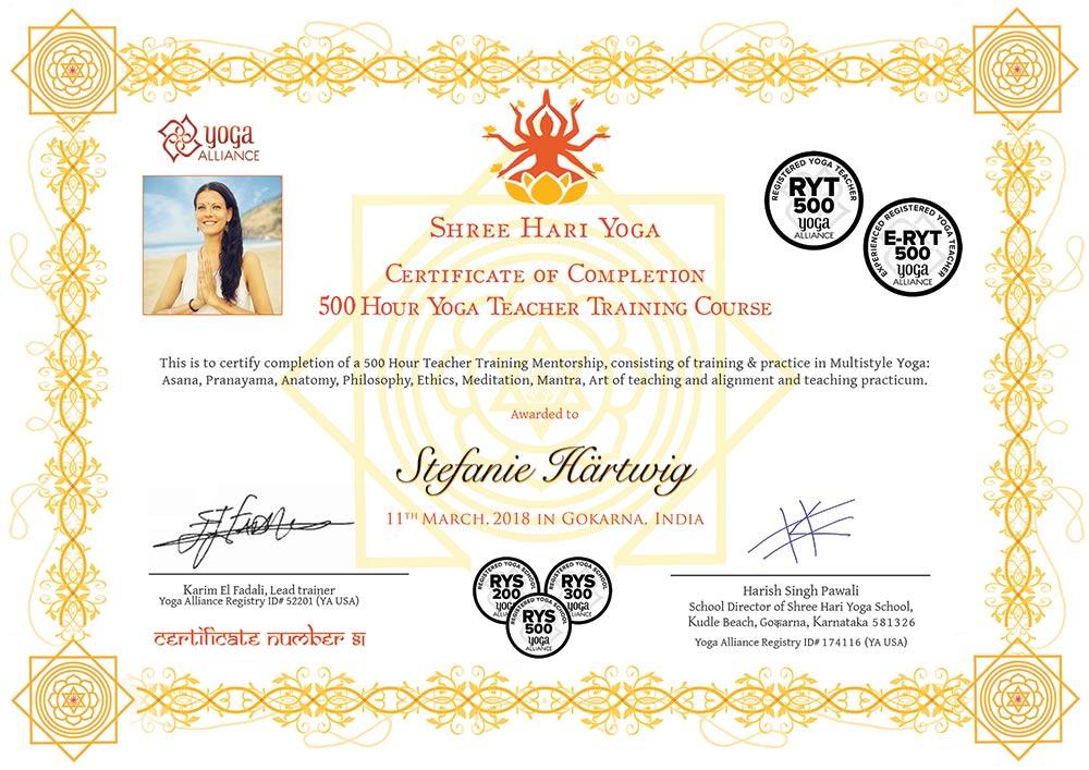 Certificate Shree Hari Yoga