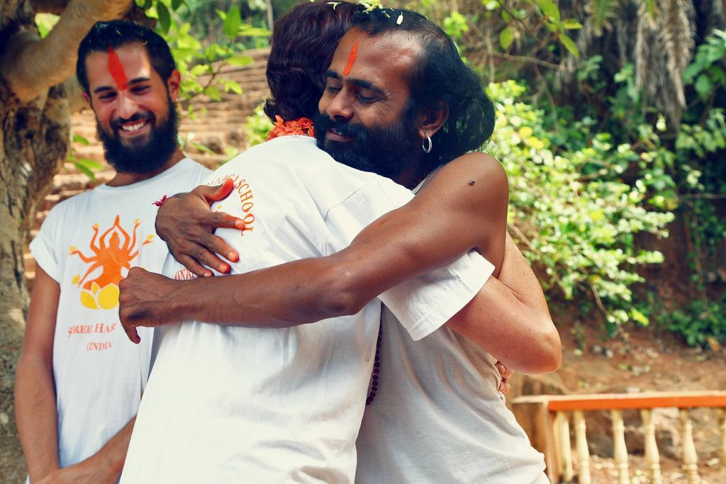 photo of hariji when he hugs a student