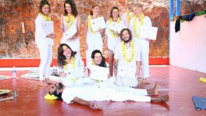 yoga teacher training certification ceremony. group picture of yttc students in gokarna