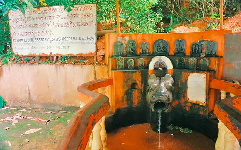 holy drinking water in Rama temple in gokarna, india