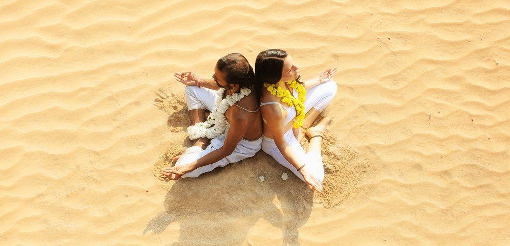 beach meditation in goa, india at shree hari yoga school