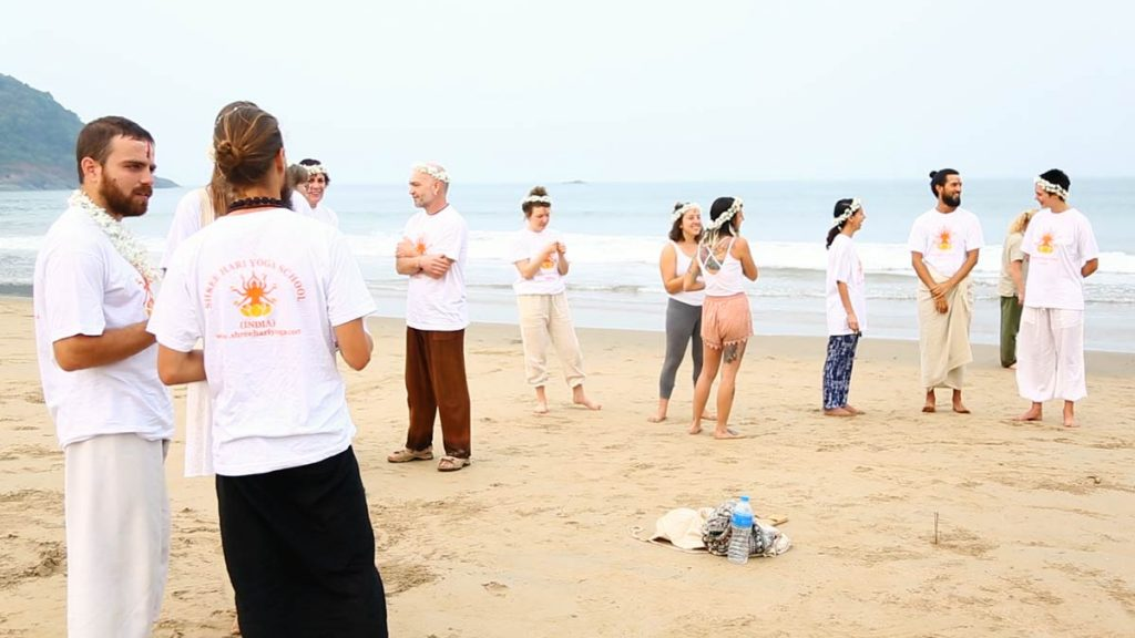 Yoga instructor course students in Goa, india at shree hari yoga school
