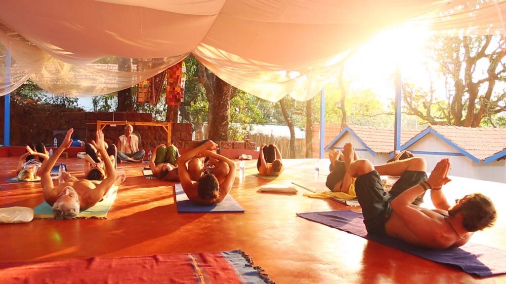 Gong-meditation with Pranayama in YIC course india, gokarna