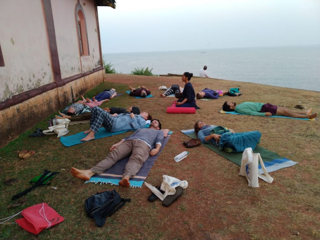 Savasana (Corpse Pose), shavasana, sunrise meditation at the temple in gokarna, india