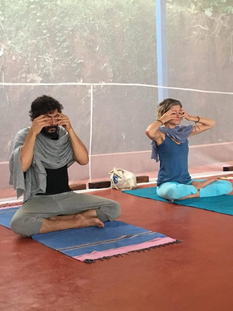 bhramari pranayama in shree hari yoga school gokarna india